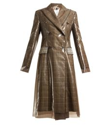 calvin klein layered double breasted checked coat