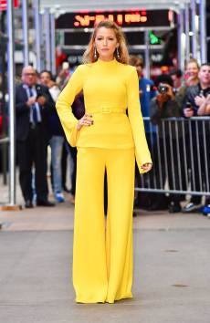 blake-lively-style-brandon-maxwell-yellow-top-trousers