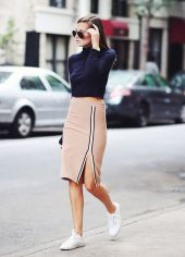 camel midi skirt and sneakers