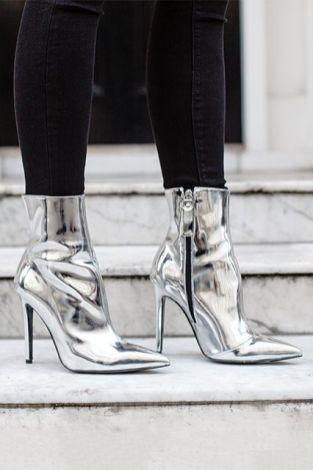 liquid silver boots