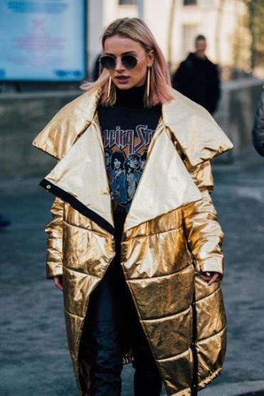 puffer coat gold