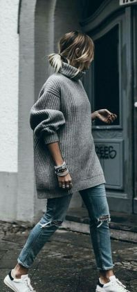 long sweater with jeans