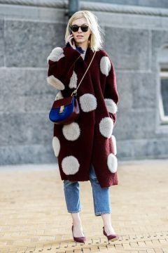 oversized polka dot cool coat