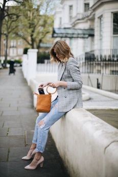 check blazer mini bucket bag