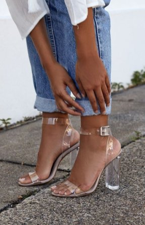clear strappy heels