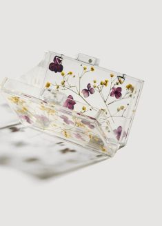 mango transparent flower detail clutch