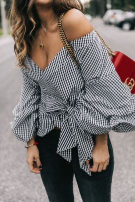 wrap statement top gingham