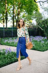 floral top with denim skirtv
