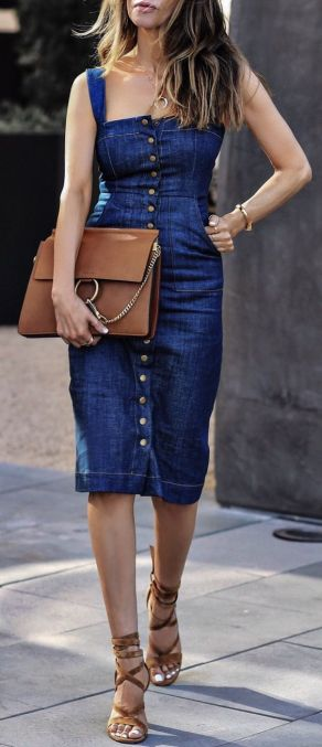 navy midi dress denim