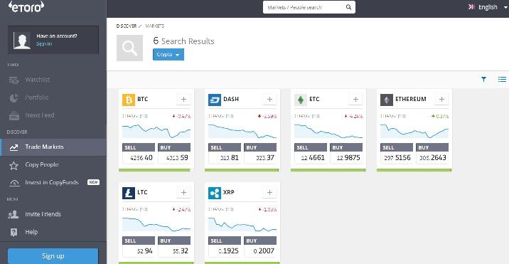 Etoro Bitcoin comercio en línea