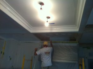 Spraying coffered ceilings