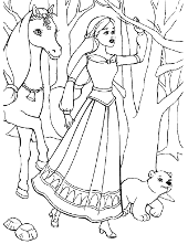 Coloring book with horse and doll