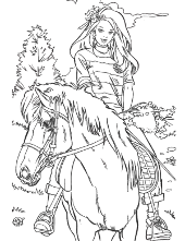 Barbie on horse coloring book