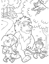 Dora with friend coloring page
