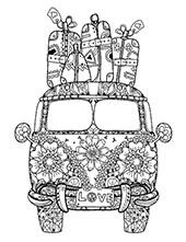 Funny hippie car