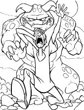 Shaggy running away from a monster