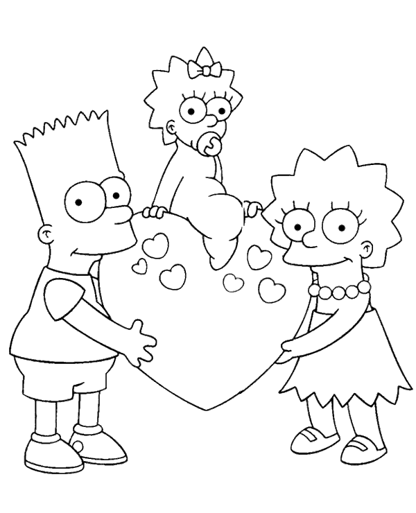 highquality bart maggie and lisa coloring page to print