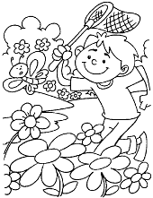 Boy chasing butterflies to color