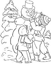 Children winter snowman coloring pages