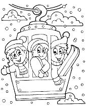 Winter break snow kids to color