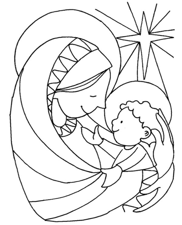 Mary with Jesus coloring page