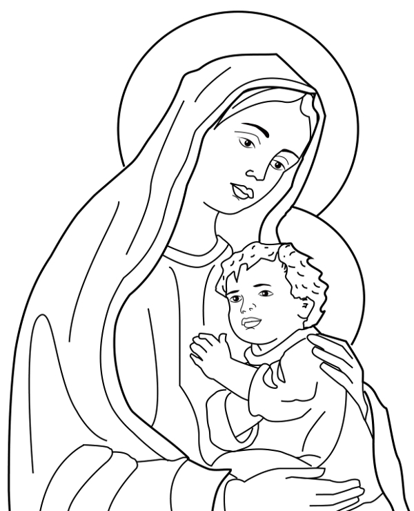 Holy Mary coloring page