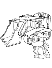 Rubble and his vehicle coloring page