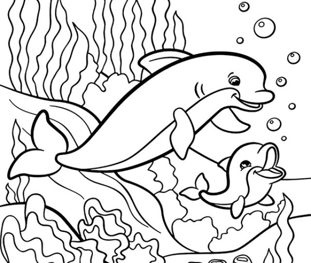 Two Dolphins Coloring Page To Print Or Download For Children