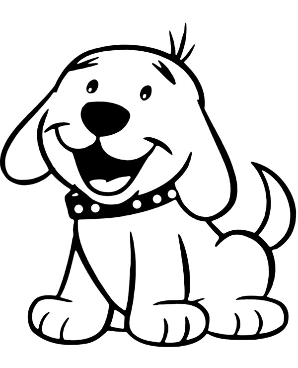 Cute Puppy Small Doggie Coloring Page For Children