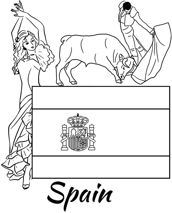 spanish flag and national symbols educational coloring pages