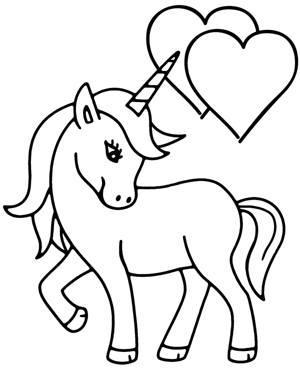 Simple Unicorn Coloring Page To Print
