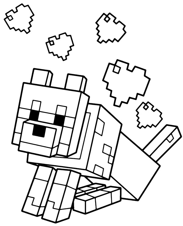 Dog And Hearts Minecraft Coloring Page Topcoloringpages Net