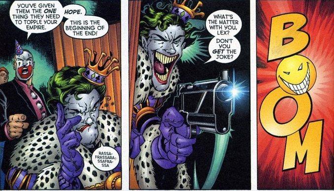 Empereur joker abat son bouffon Lex Luthor