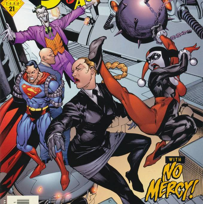 Combat entre les acolytes du Joker et de Luthor : Mercy Graves et Harley Quinn