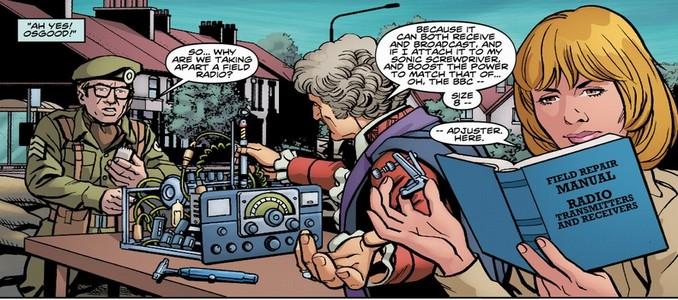 Third Doctor Who - Heralds of destruction - Le Docteur, Jo Grant & Osgood