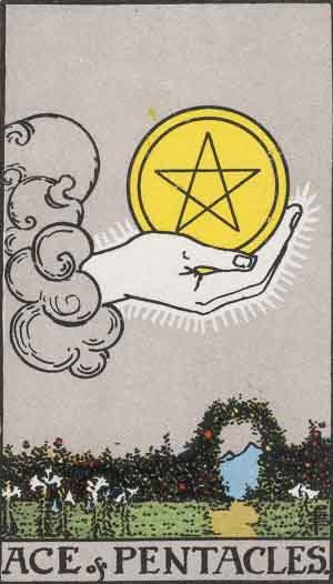 Aas van Pentakels Tarotkaart