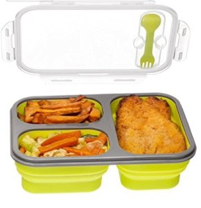 3-compartment-Food-Container-with-Lid-Bento-Lunch-Box-Leak-Proof-Microwave-Safe-Silicone-Collapsible-Lunch-Box-Tray-with-Lid-Dishwasher-Safe-green-0