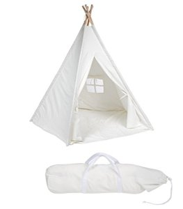 6-Canvas-Teepee-With-Carry-Case-Customizable-Canvas-Fabric-By-Trademark-Innovations-White-0