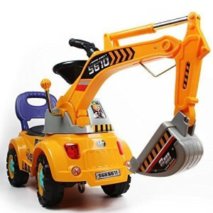 Digger-scooter-Ride-on-excavator-Pulling-cart-Pretend-play-construction-truck-color-may-vary-by-POCO-DIVO-0