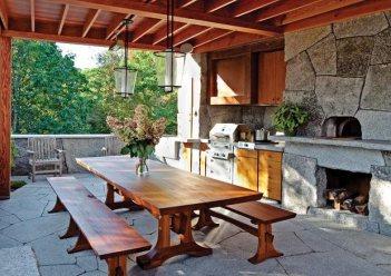 sedenie v kuchyni na zahrade Vonkajšia kuchyňa