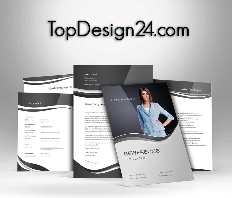 Bewerbungsvorlagen – Schwarz – TopDesign24