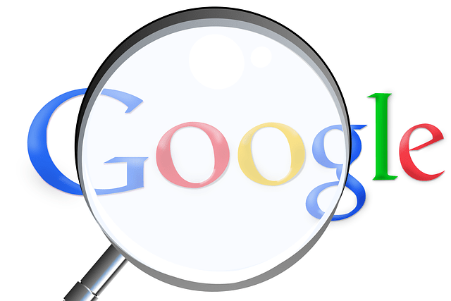 """Image of a magnifying glass with the word Google enlarged in front of question marks in the background, representing the need to answer the question, """"how do search engines rank websites?"""" to better understand how to achieve the best legal SEO results."""
