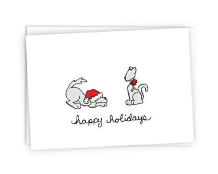 Festive Dog & Cat Happy Holidays Cards