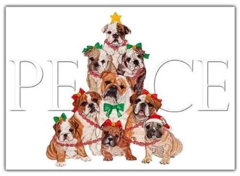 Bulldog Christmas Cards Peace