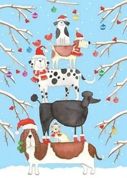Entertaining with Caspari Christmas Dog Tower Christmas Cards