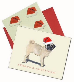 Santa Pug Christmas Cards