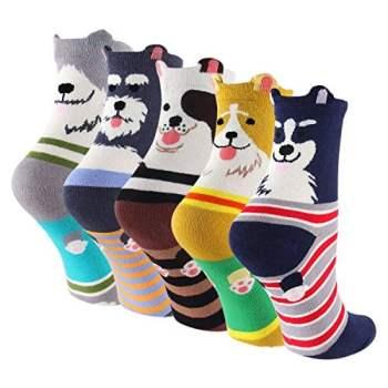 Cartoon Cotton Dog Crew Socks
