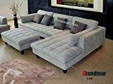 Stendmar 3pc New Modern Gray Microfiber Sectional Sofa