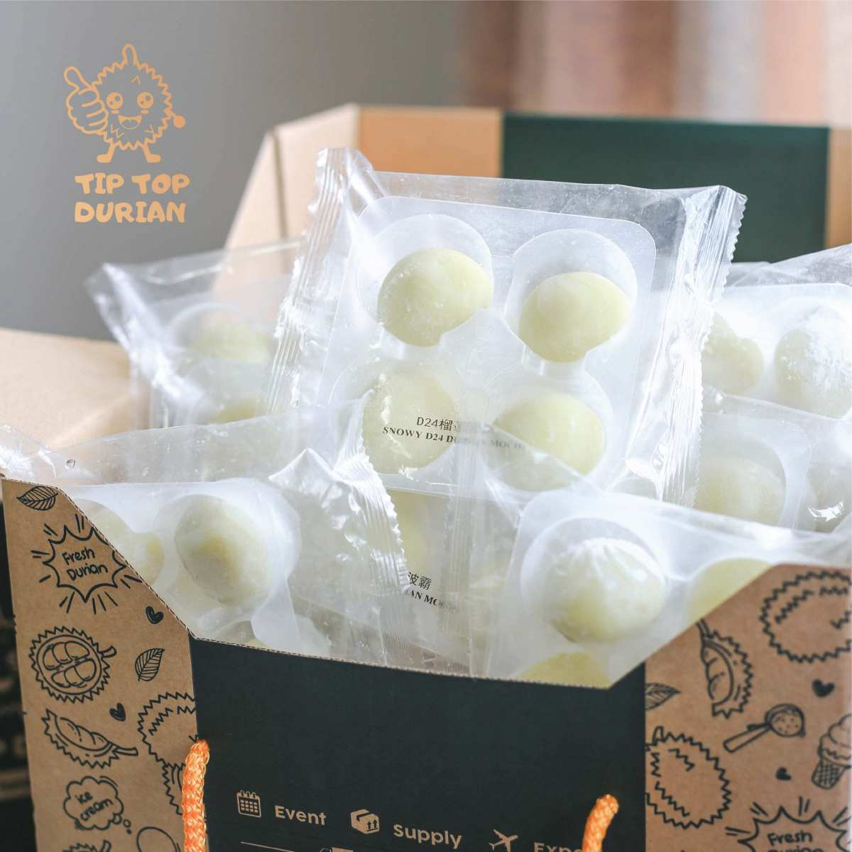 D24 Durian Mochi 10 Packs (1) | Tip Top Durian Delivery | Malaysia Top Fresh Durian Online Delivery