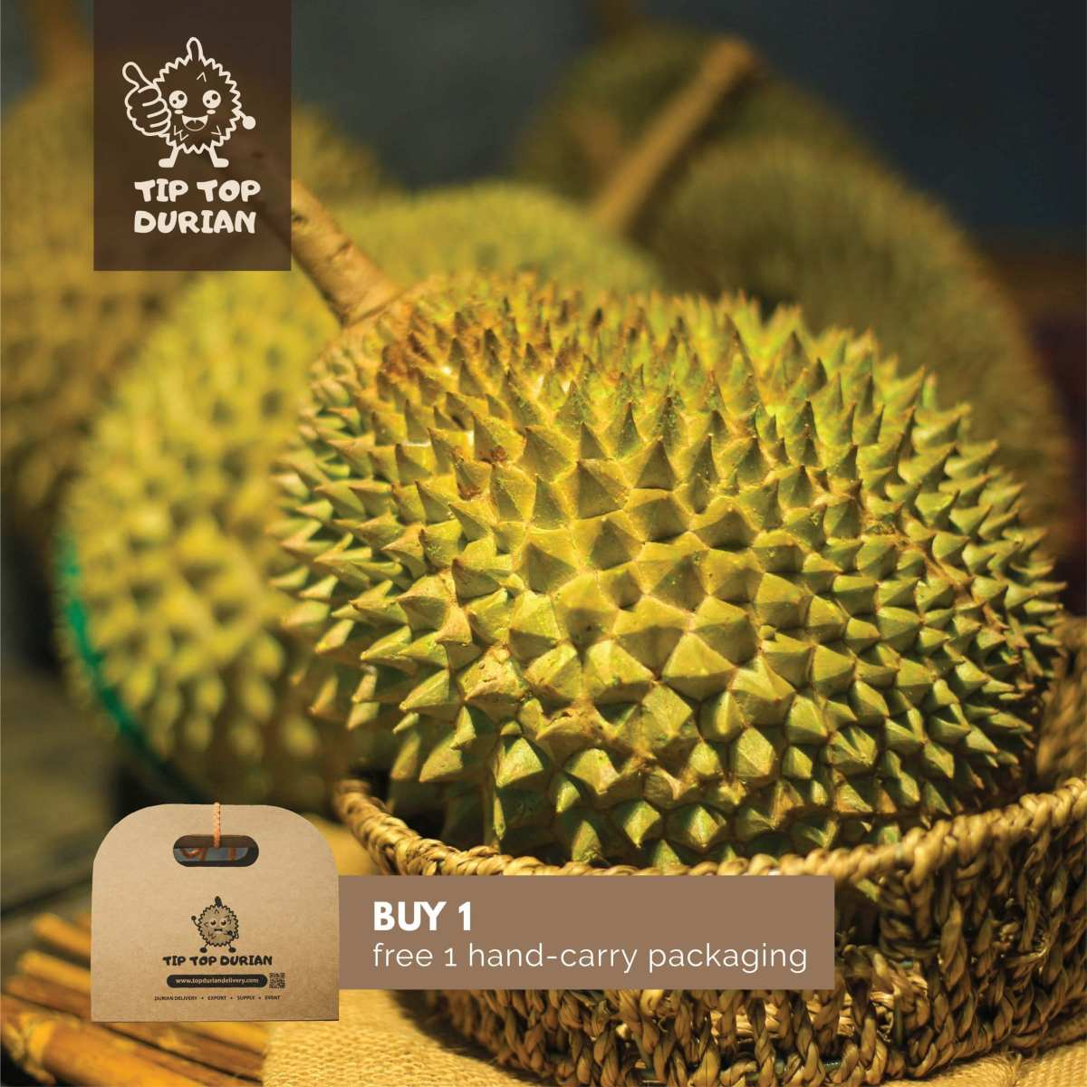 Musang King Premium with Hand Carry Box | Tip Top Durian Delivery | Malaysia Top Fresh Durian Online Delivery